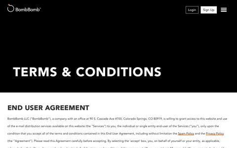Screenshot of Terms Page bombbomb.com - Terms & Conditions - Video Email using Gmail, Mobile, and Web | BombBomb.com - captured Nov. 18, 2015