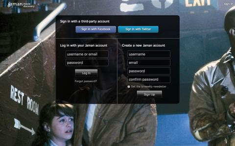 Screenshot of Login Page jaman.com - Sign In - Jaman Movie Discovery - captured Dec. 2, 2015