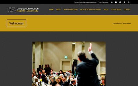 Screenshot of Testimonials Page davidsobon.com - Testimonials   David Sobon Auctions   Profit for Non-Profits - captured Oct. 5, 2014