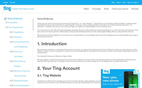 Screenshot of Terms Page ting.com - Ting is a smarter way to do mobile. Check Your Savings. - captured Jan. 3, 2020