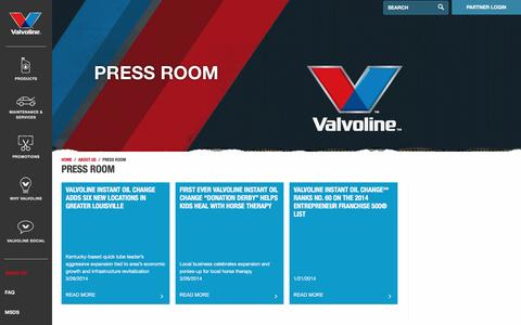 Screenshot of Press Page valvoline.com - Press Room - Valvoline - captured Dec. 5, 2015