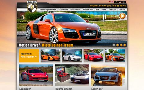 Screenshot of Home Page motion-drive-vermietung.de - Exklusive Sportwagen mieten - Motion Drive® - captured Sept. 23, 2014