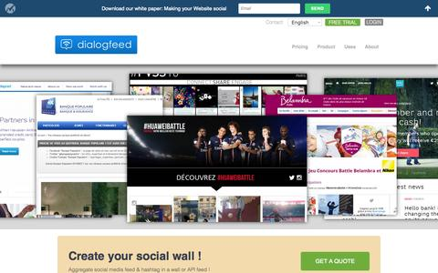 Screenshot of Home Page dialogfeed.com - Dialogfeed: Social Feed on Social Wall | Hashtag, Facebook, JSON, Twitter, Instagram, Pinterest, YouTube, Tumblr, Vine, Wordpress - captured June 16, 2015