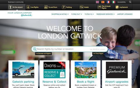 Screenshot of Home Page gatwickairport.com - Home | Gatwick Airport - captured Nov. 2, 2017