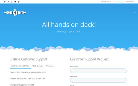Screenshot of Support Page anchor.com.au - Form Contact Support - AWS Managed Services by Anchor - captured July 2, 2017