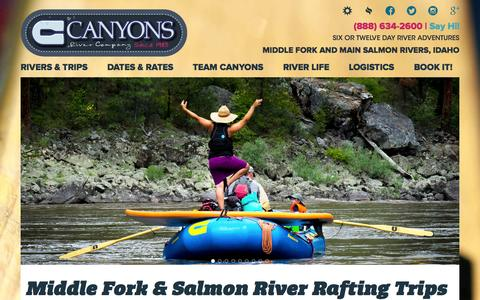 Screenshot of Home Page canyonsinc.com - Middle Fork of the Salmon River Rafting Vacations with Canyons - captured Sept. 11, 2015