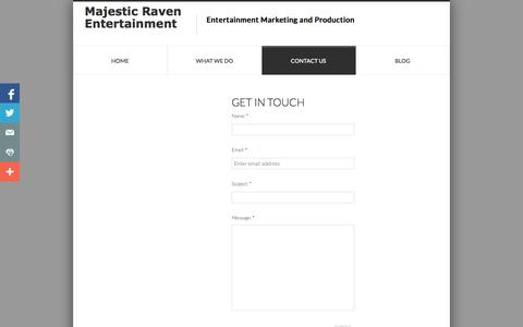 Screenshot of Privacy Page Contact Page majesticraven.com - Contact Us-CONTACT US FOR YOUR MARKETING AND PR! - captured Oct. 23, 2014