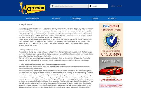 Screenshot of Privacy Page arabiandeal.com - Dubai Best Deals Privacy Policy | Leisure Offers, Activities Coupons, Outdoor Deals UAE  – Arabian Deal, Dubai - captured Sept. 30, 2014
