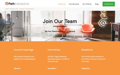 Screenshot of Jobs Page pathinteractive.com - Careers in Search Engine Marketing | SEO Jobs | Path Interactive - captured Sept. 14, 2016