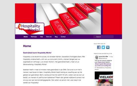 Screenshot of Home Page hospitalityworks.nl - Gastvrijheid loont: Hospitality Works! - captured Sept. 30, 2014