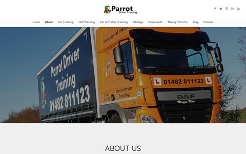 Screenshot of About Page parrot.me.uk - About - Parrot Driver Training - captured July 14, 2017