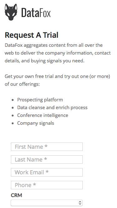Screenshot of Landing Page  datafox.com - Request a Trial of DataFox