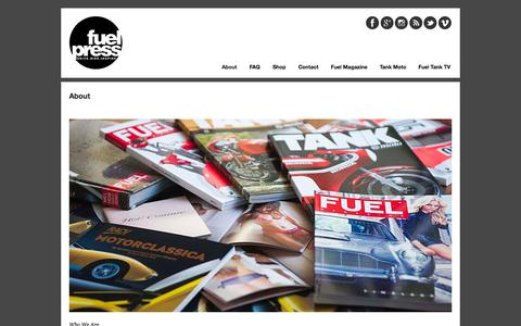 Screenshot of About Page fuel-press.com - About | Fuel Press - captured Nov. 5, 2014
