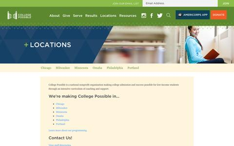 Screenshot of Contact Page Locations Page collegepossible.org - Locations : College Possible - captured May 20, 2017