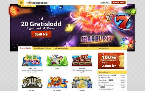 Screenshot of primescratchcards.com - Skrapelodd på nett – 20 GRATIS spill | Prime Scratch Cards - captured March 19, 2016