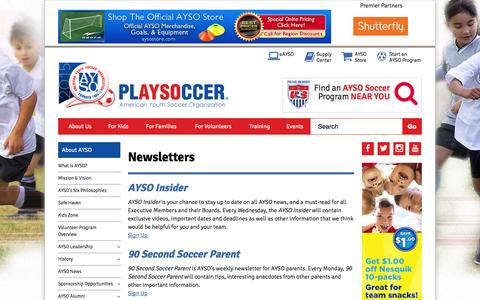 Screenshot of Signup Page ayso.org - Newsletters - captured Nov. 1, 2015