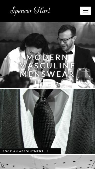 Screenshot of Home Page  spencerhart.com - Savile Row Suits -Bespoke Menswear Tailoring   Spencer Hart Meta description: Spencer Hart is a world of craft, soul and tailoring. A bespoke alternative to the traditional Savile Row tailors.
