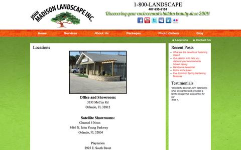 Screenshot of Locations Page johnmadisonlandscape.com - Locations | John Madison Landscape - captured Oct. 6, 2014