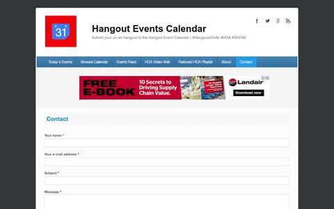 Screenshot of Contact Page hangouteventscalendar.com - Contact | Hangout Events Calendar - captured Sept. 27, 2014
