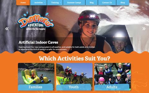 Screenshot of Home Page dunmoreadventure.com - Dunmore Adventure - captured Oct. 5, 2014