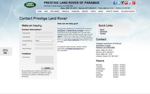 Screenshot of Contact Page prestigelandrover.com - Contact Land Rover and Range Rover, Phone Email and Fax for Prestige Land Rover of Paramus NJ 07652 - captured Sept. 23, 2014