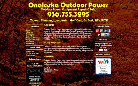 Screenshot of About Page callhms.com - Onalaska Outdoor Power - Outdoor Power Equipment Repair - Small Engine Repair - Lawn Mower Repair - 936-755-3295 - Call For Estimate - captured Oct. 1, 2014