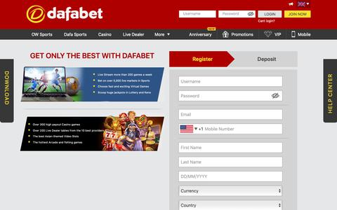 Screenshot of Signup Page dafabet.com - Start betting today with Dafabet! Sign up now! - captured Nov. 6, 2018