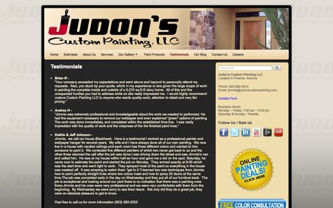 Screenshot of Testimonials Page judonspainting.com - Testimonials - Judon's Custom Painting LLC - captured Oct. 6, 2014