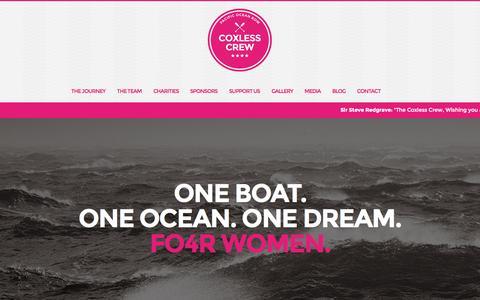 Screenshot of Home Page coxlesscrew.com - Coxless Crew | Pacific Ocean Row 2014 - captured Sept. 30, 2014