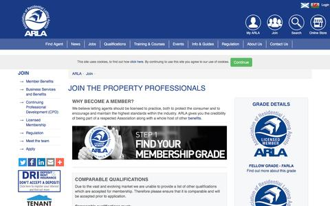 Screenshot of Signup Page arla.co.uk - Join the property professionals | ARLA - captured Aug. 28, 2016