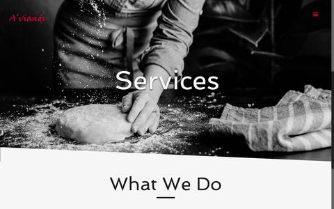 Screenshot of Services Page aviands.com - Services | A'viands - captured Feb. 3, 2016