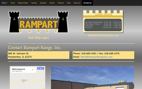 Screenshot of Contact Page rampartrangeinc.com - Shooting Range | Pocahontas, Illinios | Rampart Range, Inc. - captured Nov. 18, 2018
