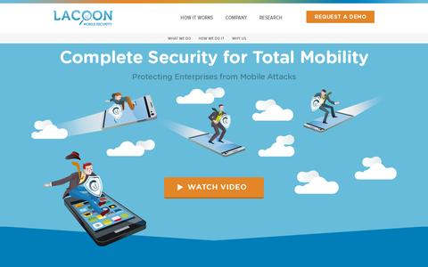 Screenshot of Home Page lacoon.com - Lacoon Mobile Security: Protecting Enterprise from Mobile Threats : Lacoon Mobile Security - captured July 11, 2014