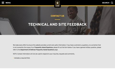 Screenshot of Contact Page army.mil - Contact Us | The United States Army - captured Oct. 12, 2016