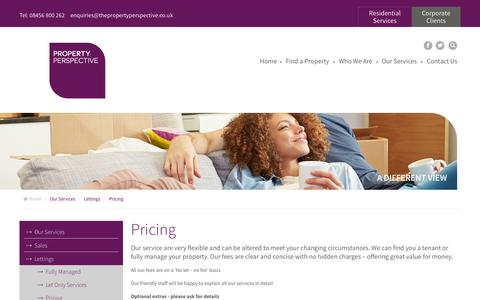 Screenshot of Pricing Page thepropertyperspective.co.uk - Pricing | The Property Perspective – your local estate agent - captured Oct. 26, 2014