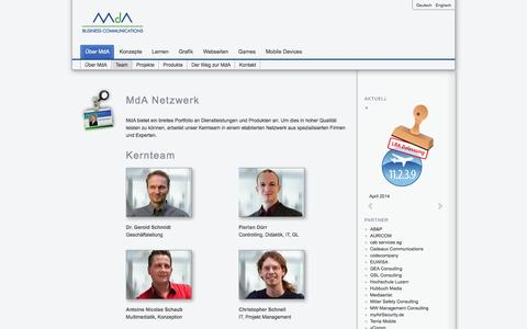 Screenshot of Team Page mda.ch - MdA Business Communications AG - We manage your content. - captured Oct. 4, 2014