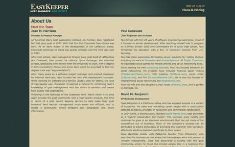 Screenshot of About Page easykeeper.net - EasyKeeper Herd Manager | Goat Software Development Team - captured Oct. 22, 2014