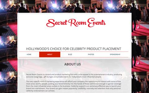 Screenshot of About Page secretroomevents.com - About Secret Room Events - captured Nov. 19, 2016