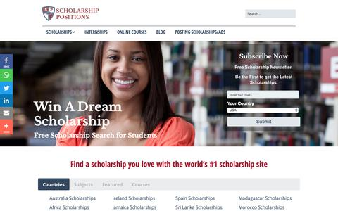 Screenshot of Home Page scholarship-positions.com - Home - Scholarship Positions 2018 2019 - captured Nov. 7, 2018