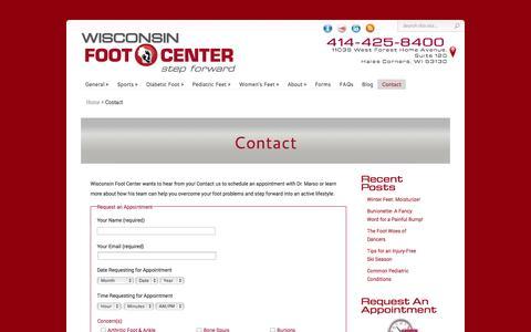 Screenshot of Contact Page wisconsinfootcenter.com - Contact Dr. Marso   Wisconsin Foot Center   414-425-8400 - captured Oct. 1, 2014
