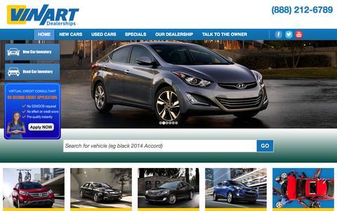 Screenshot of Home Page vinart.com - Acura, Honda, Hyundai Dealership Emmaus PA Used Cars Vinart Dealerships - captured Oct. 7, 2014