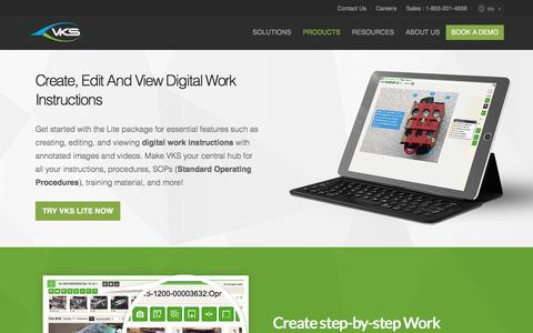 Screenshot of Products Page vksapp.com - Digital Work Instructions Accessible Anytime, Anywhere| VKS Lite - captured March 18, 2018