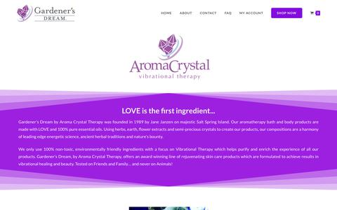 Screenshot of About Page aromacrystal.com - About – Aroma Crystal Therapy - captured Sept. 27, 2018