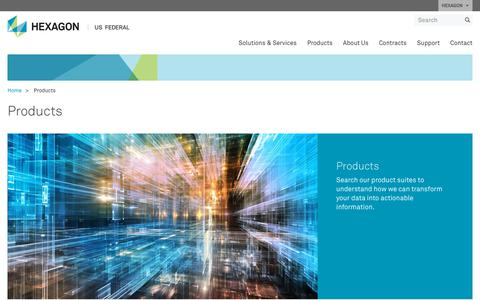 Screenshot of Products Page hexagonusfederal.com - Products | Hexagon US Federal - captured July 8, 2018