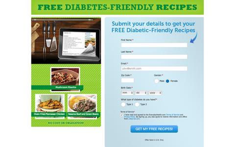 Screenshot of Landing Page everydayhealth.com - Everyday Health | Register to receive free diabetes friendly Recipes - captured April 19, 2017
