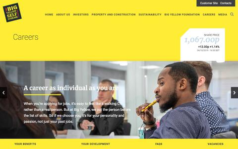 Screenshot of Jobs Page bigyellow.co.uk - Careers :: Big Yellow Group - captured Oct. 5, 2019