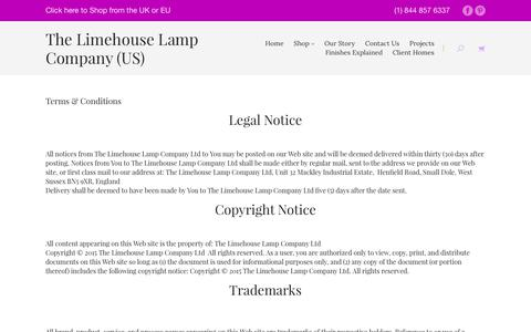 Screenshot of Terms Page limehouselighting.com - Terms & Conditions | The Limehouse Lamp Company - captured July 6, 2017