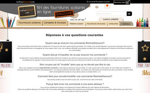Screenshot of FAQ Page rentreediscount.com - FAQS RentreeDiscount - Fournitures scolaires en ligne - captured Nov. 11, 2018