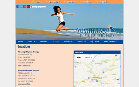 Screenshot of Locations Page gettheadvantage.org - Locations - Advantage Physical Therapy - captured Oct. 3, 2018