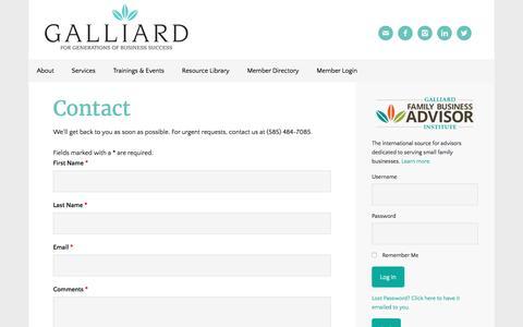 Screenshot of Contact Page galliardinc.com - Galliard, Inc. - Contact Us - captured Jan. 26, 2016
